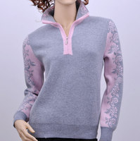 100%goat cashmere thick knit women's printed sweater pullover zipper POLO collar patchwork color M 4XL