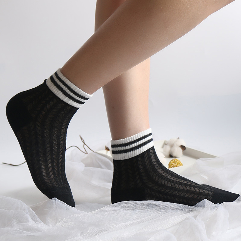 2 Pairs/Lot Women socks spring/autumn Han edition stripe Hollow thin air breathable 2 bar ulzzang The original SuFeng  stocks