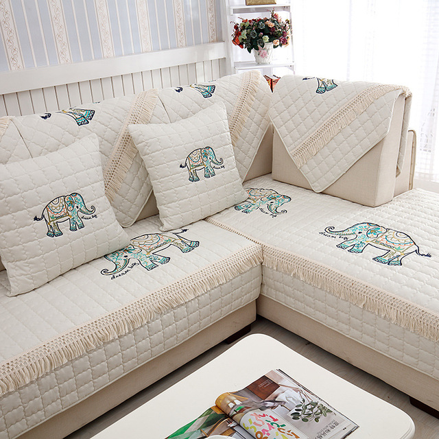 Delicieux Beige Butterfly Embroidered Sofa Cover Towel Decorative Sofa Cover Modern  Resistant Sofa Slipcover Seat Couch Covers
