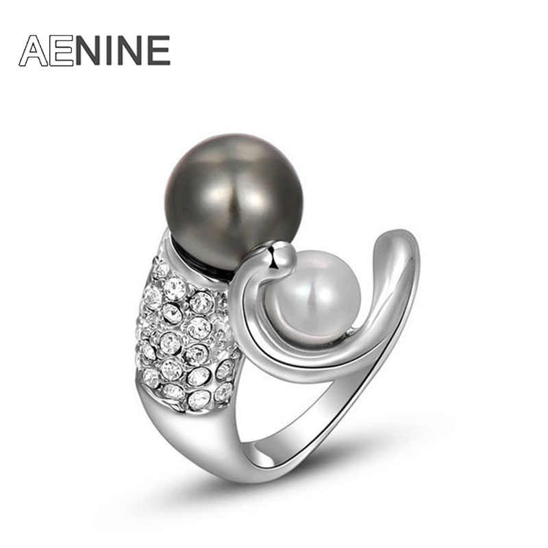 AENINE brands fashion women ring Austrian Crystal double Simulated Pearl Ring L2010204330