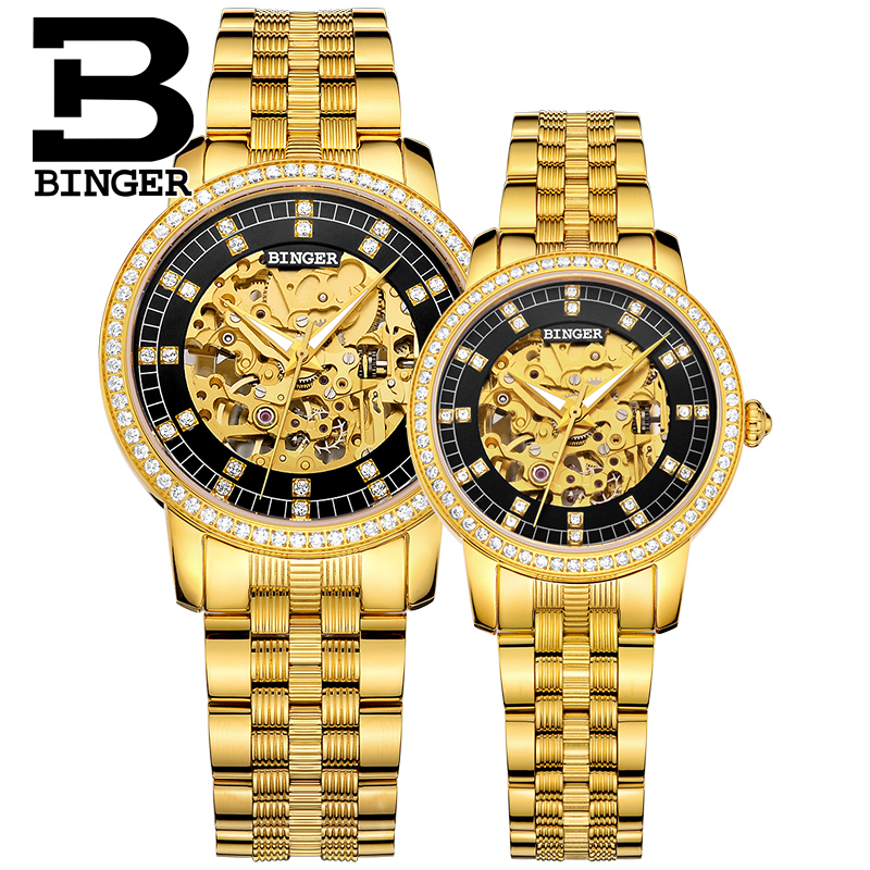 Luxury Lovers Full Gold Steel Watches Hollow Self-wind Mechanical Wrist Watch Shinning Crystals Men Skeleton Watch Women Montre