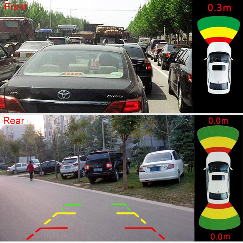 GreenYi 2019 Car Radar System 8pcs Parking Sensor Support Front Rear Camera with Sound Alert and