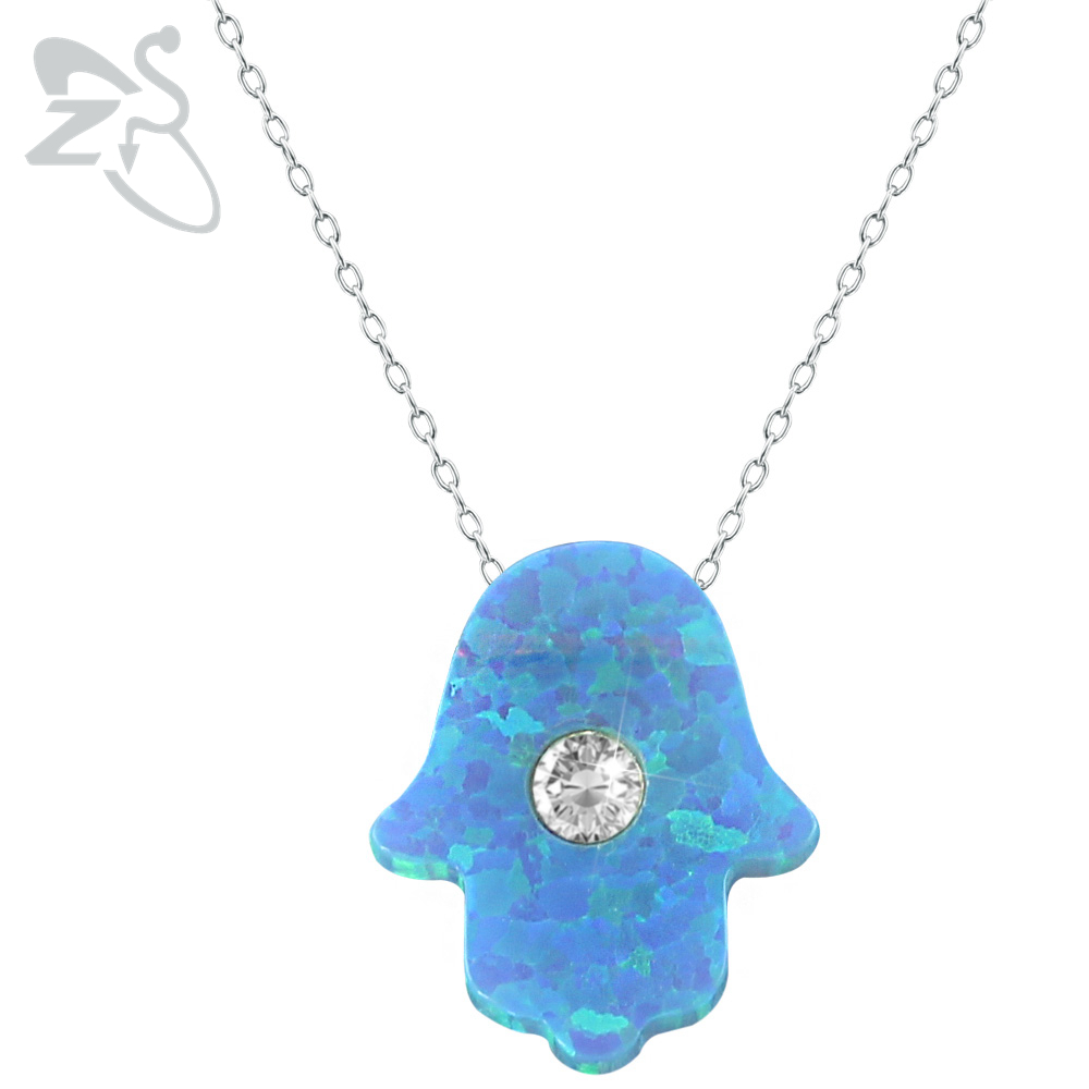 2016 Latest Hamsa Hand Opal Pendant Collar Necklace Charming Necklaces & Pendants 925 Sterling Silver Women Necklace Jewelry