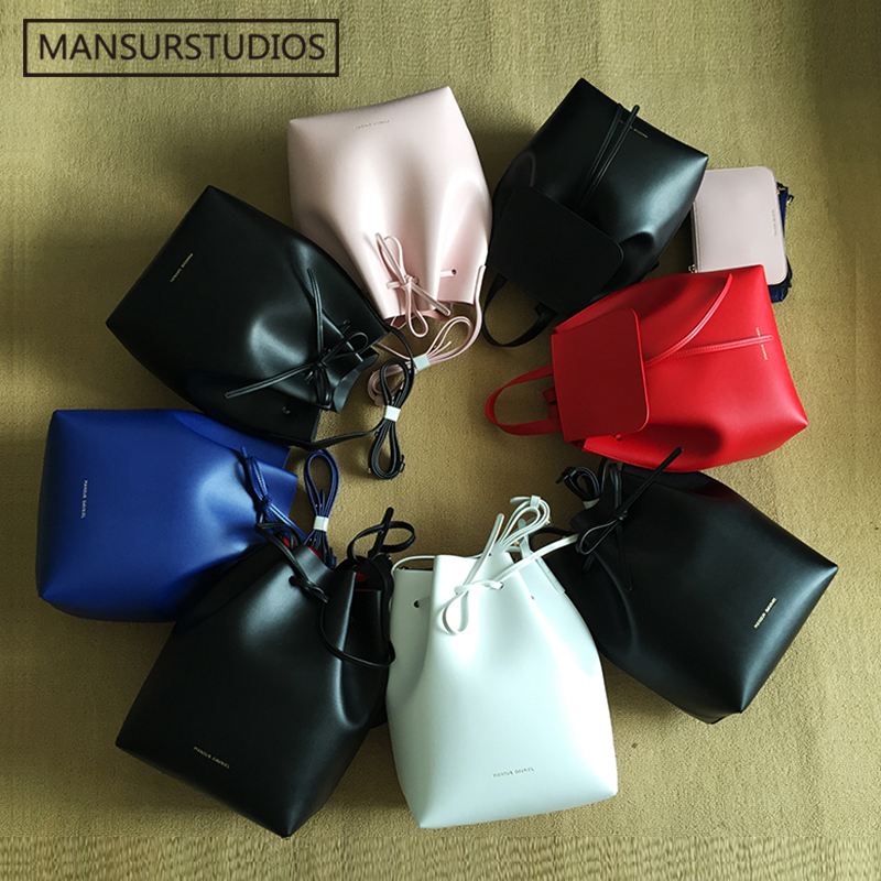 Newest  MANSURSTUDIOS bucket bag  Mansur women real  leather hand bag Gavriel la