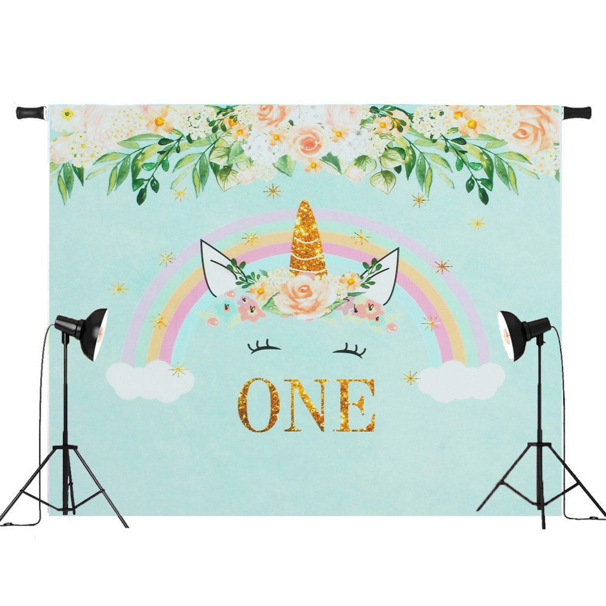7x5ft / 5x3ft One Year For Unicorn Flowers Rainbow Photography Backdrop Studio Props 2018 New Arrival