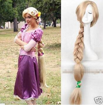 ePacket Free shipping Tangled Rapunzel wig Long Blonde Handcraft Braid Women's Cosplay wig 1.2m free ship hot new blonde mixed cosplay split type wig and with 2 pigtails