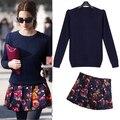 Европейские станции женщины костюм мода весна вязание свитера + вырос печать скрывать темно-синий короткие юбка костюм 636