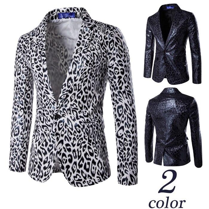 Пиджаки мужские костюмы Западный стиль с одной пуговицей Костюм леопардовый принт Костюм Лучший Человек платье-пиджак Masculino