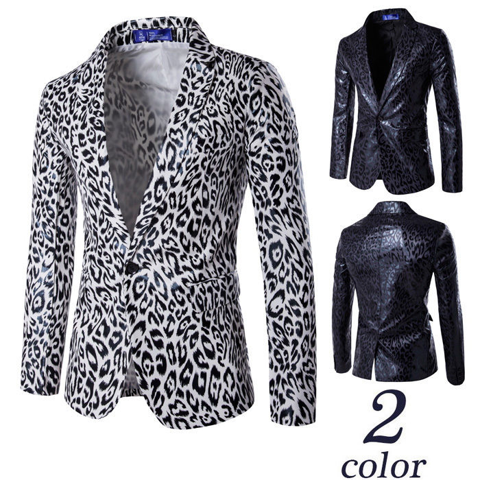 Blazers Men Suits Western Style One-button Suit Leopard Print Suit Best Man Dress Blazer Masculino