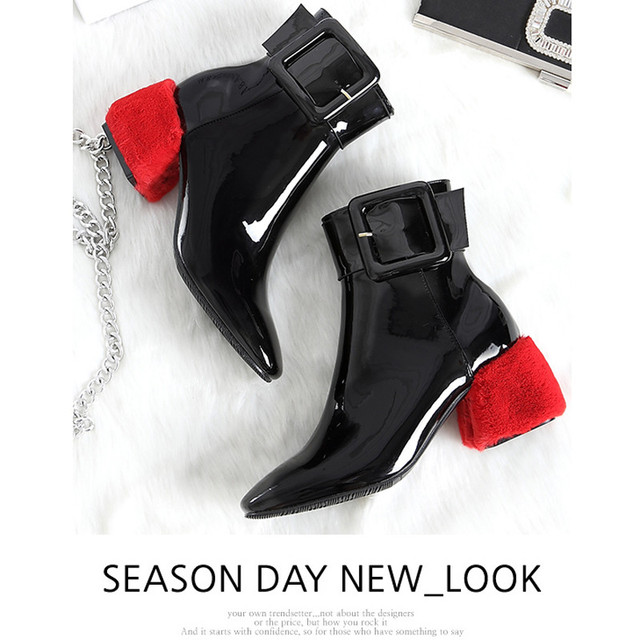 379e1b3930d14 Fashion Winter Runaway Martain Boots Red Square Heel Pointed Toe Shoes  Women Patent Leather Scrub Buckle Shoes 5-8CM High Heels