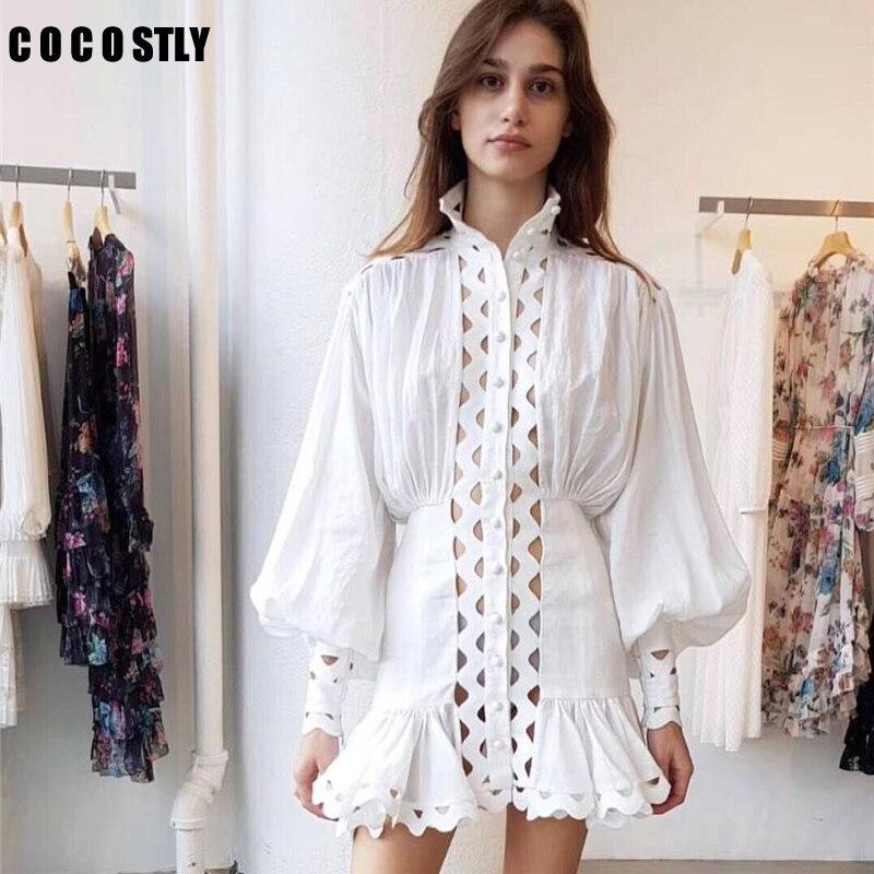 e433a91cab2 Tenue Supérieure De Creux robe Style Fête White Out Femmes Manches Robes  Sexy Qualité Blanc Mini black Longues Volants À D été ...