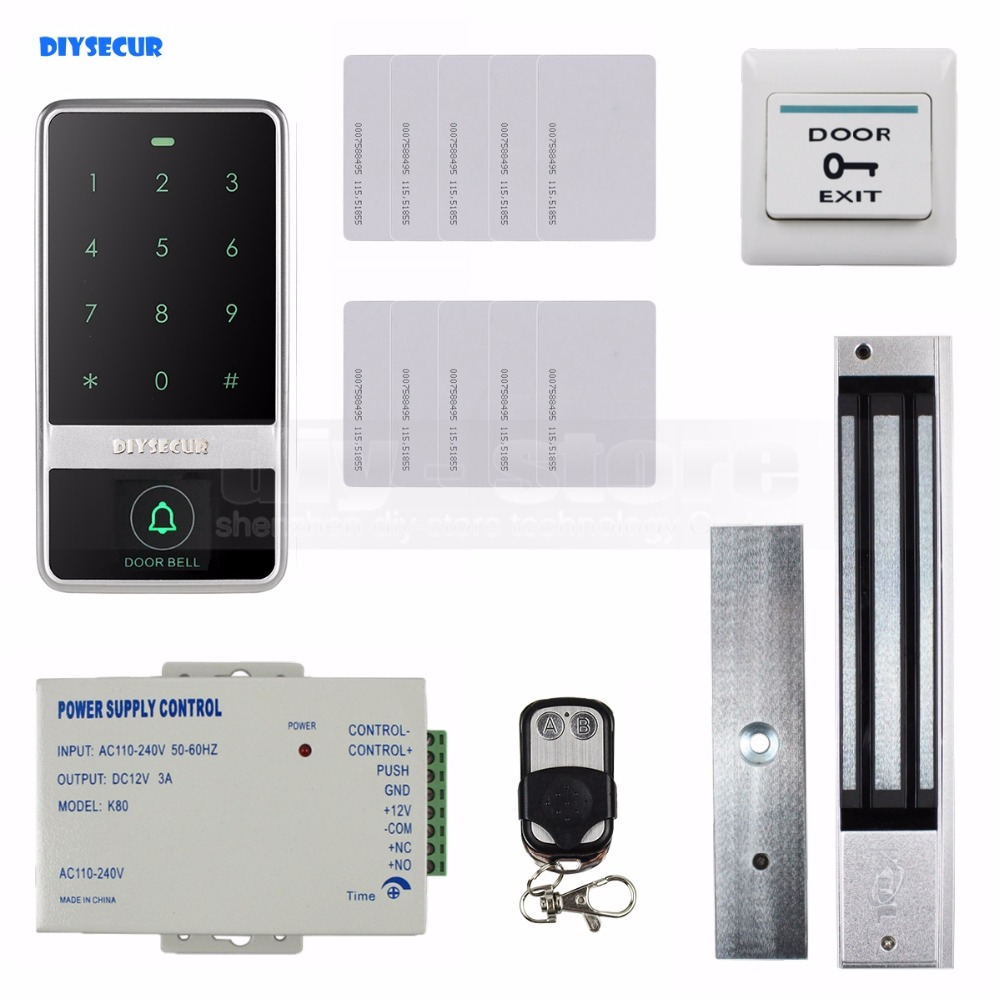 DIYSECUR 8000 Users Magnetic Lock 125KHz RFID Reader Password Keypad Door Access Control Security System Kit diysecur touch panel rfid reader password keypad door access control security system kit 180kg 350lb magnetic lock 8000 users