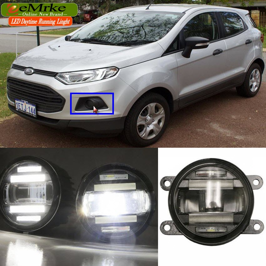 eeMrke Car Styling For Ford EcoSport 2013 - up 2 in 1 LED Fog Light Lamp DRL With Lens Daytime Running Lights eemrke car styling for opel zafira opc 2005 2011 2 in 1 led fog light lamp drl with lens daytime running lights