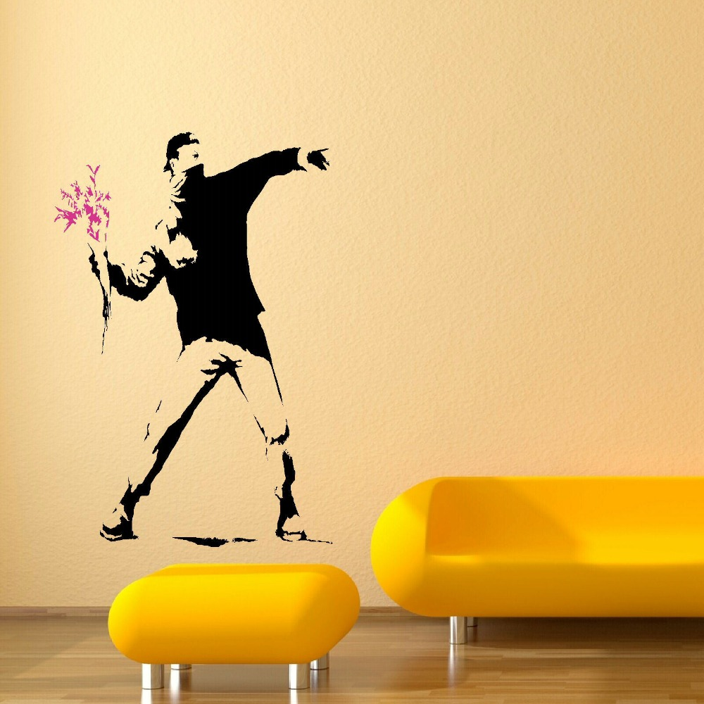 compare prices on banksy wall mural online shopping buy low price banksy man riot flower wall mural art sticker transfer poster decal room wall sticker fashion wall