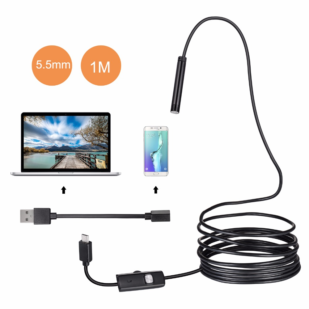 1/1.5/2m 5.5mm Len USB OTG Snake Android Endoscope Camera IP67 Waterproof 6 LEDs Inspection Pipe Camera Borescope For Phone PC 2018 newest 4 9mm lens medical endoscope camera for otg android phone pc usb borescope inspection otoscope camera for ear nose