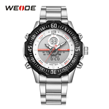WEIDE Mens Fashion Sport Quartz LCD Dual Display Luminous Back Light Analog Day Stainless Steel Band Strap Hardlex Wrist Watch