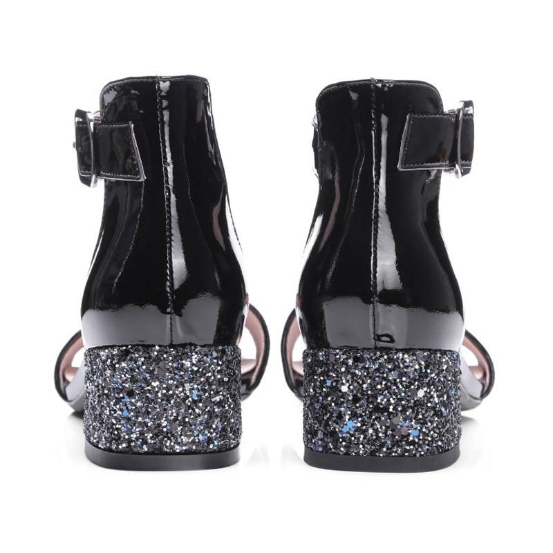 D'été Mode Élégant 2019 Robe Bureau Noir Dames Argent Sandales À Black Pompes silver Bloc Bout Grande Taille Nouveau Femmes 42 Ouvert Chaussures Partie Pzr0wPqg