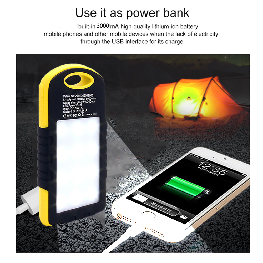 Купить с кэшбэком LED Solar Power Camping Lamp Outdoor LED Flashlight 3000mAh Solar Power Bank For Phone Portable Lanterns BRIGHTINWD