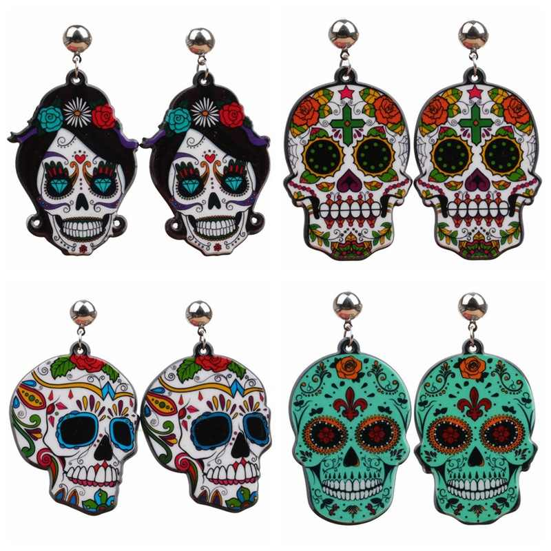 Fashion Colorful Sugar Skull Earrings Personality Acrylic Skeletons Ornaments  Day of the Dead Jewelry  Halloween Gift