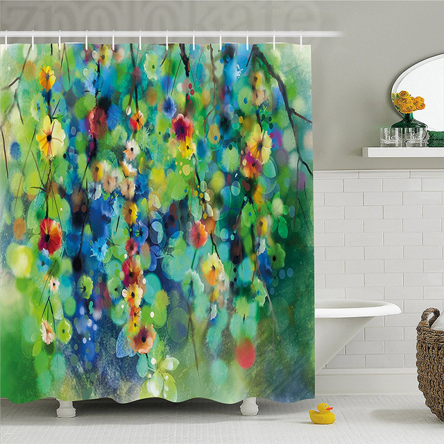 Watercolor Flower Home Decor Shower Curtain Vibrant Blooms Clusters Down From Branch Spring Season Image Bathroom Set With
