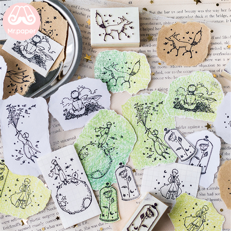 Mr Paper Dreamy Cartoon Little Prince Rose Fox Wooden Rubber Stamps for Scrapbooking Decoration DIY Craft Standard Wooden Stamps 3