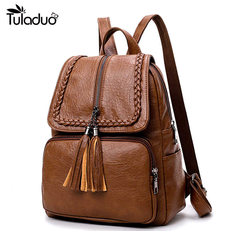 9da114f2578 Fashion Korean Women Casual Backpack Leather Tassels Zipper Bags Big  Capacity Girls School Shoulder Bag Mochila