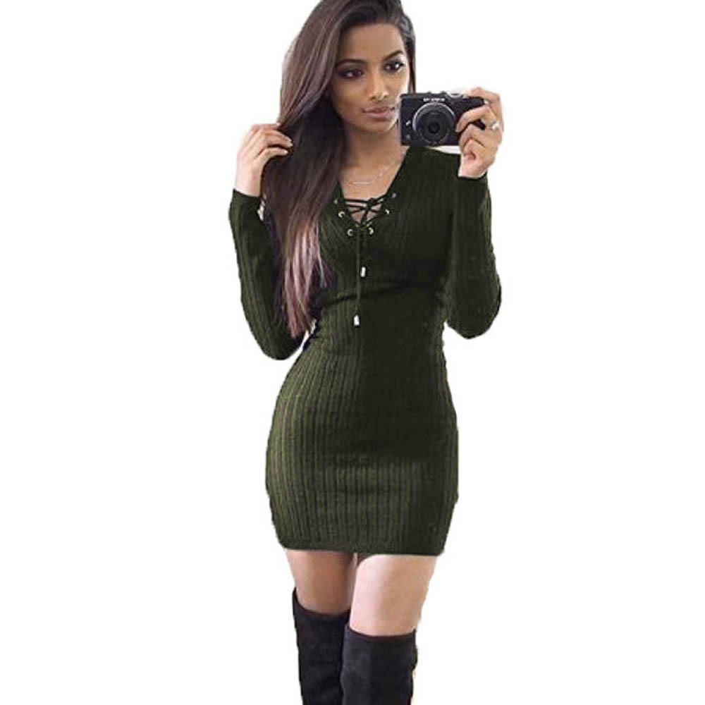 Women Autumn Winter V neck Long Sleeve Knitted BodyCon Sweater Short Mini Dress Vestido De Festa Curto Cheap Clothes China jd4
