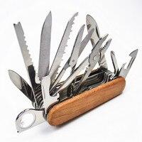 Punho de madeira faca suíça acampamento ao ar livre sobrevivência exército faca dobrável portátil de acampamento multi-ferramenta bolso-tamanho facas de caça