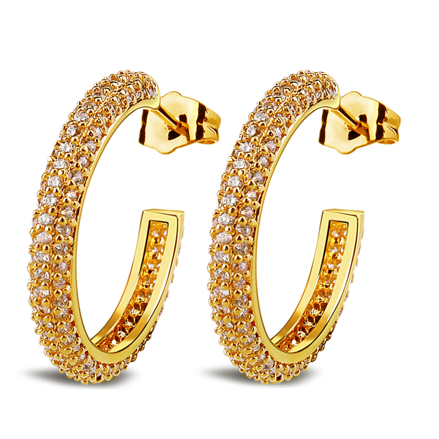 Real Gold Plated Pave Setting 236 Pieces AAA Cubic Zirconia C Shaped Loop Women Hoop Earrings Fashion Wedding Jewelry (hyle)