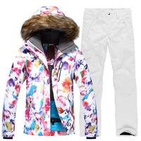 GSOU SNOW Women's Single Double Board Outdoor Waterproof Breathable Warm Windproof Ski Suit Ski Jacket+Ski Pants Size XS L