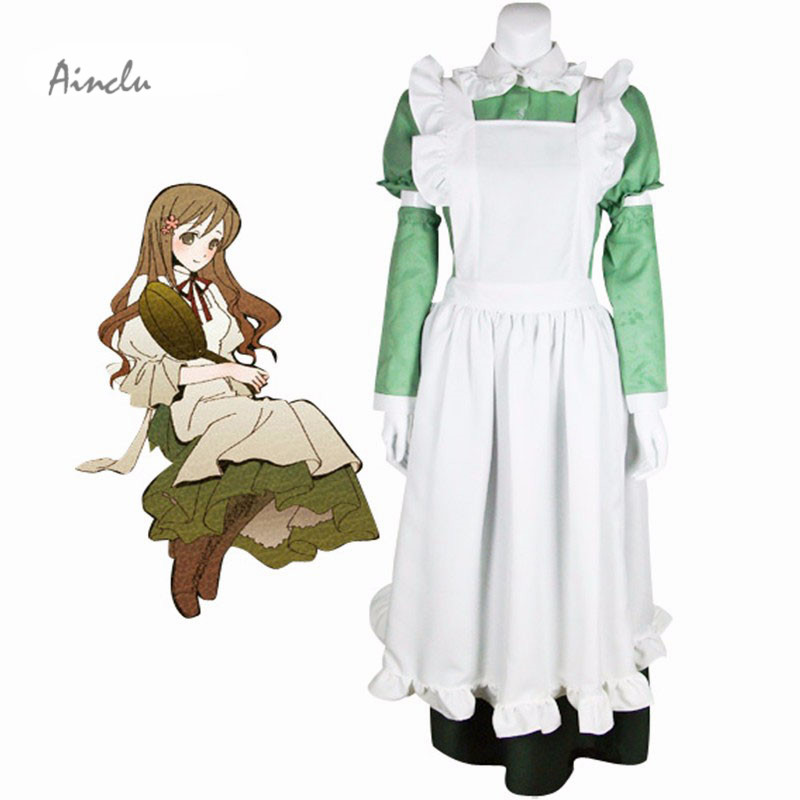Ainclu Free Shipping Anime Product Axis Powers Hetalia Italy Maid Halloween Cosplay Costume Military Uniform Female Closing