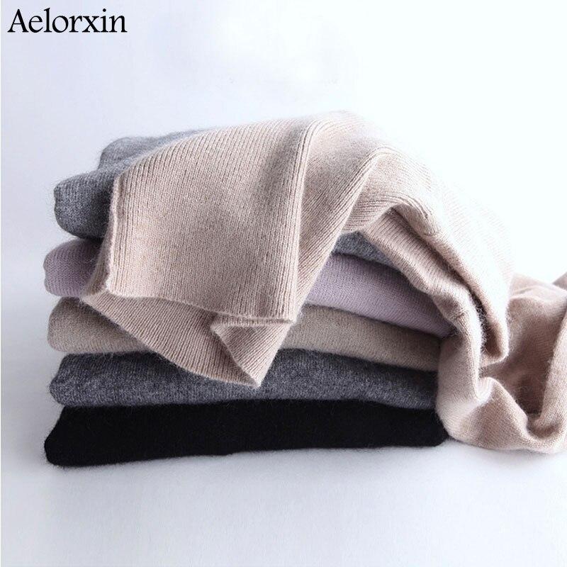 Aelorxin de Cachemira de Cuello Alto Suéter de Las Mujeres Pullover Mujeres Suét