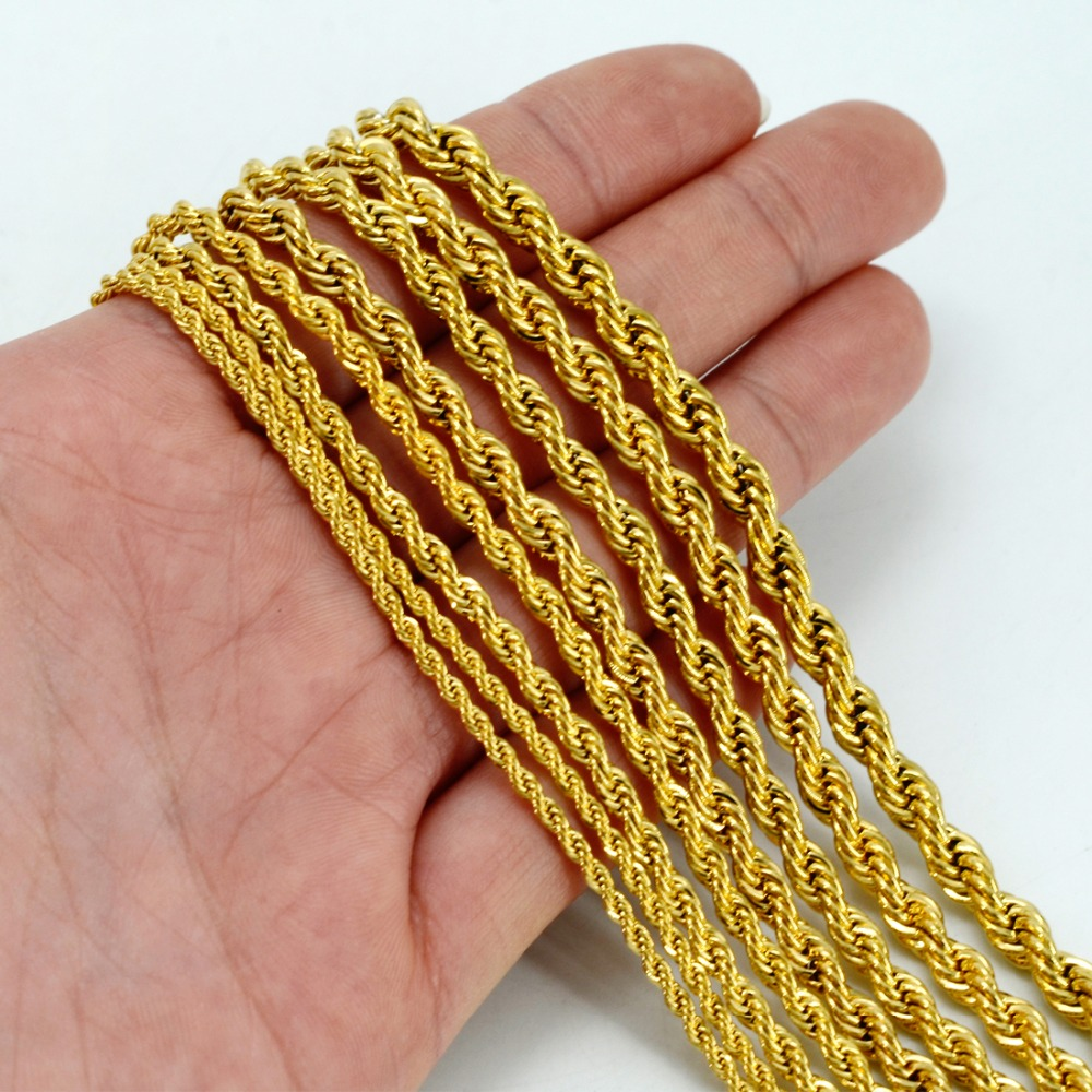 Anniyo ONLY ONE PIECE,Men Gold Necklace,50CM/60CM Chain for Women,Gold Color Africa Jewelry,Arab Chains,Ethiopian #001216 ...
