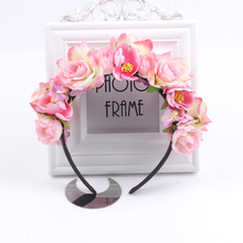 8 colors Women Wedding Floral Crown Head Band Wreath Flower Headband Bridesmaid Bridal Garland Forehead Hair