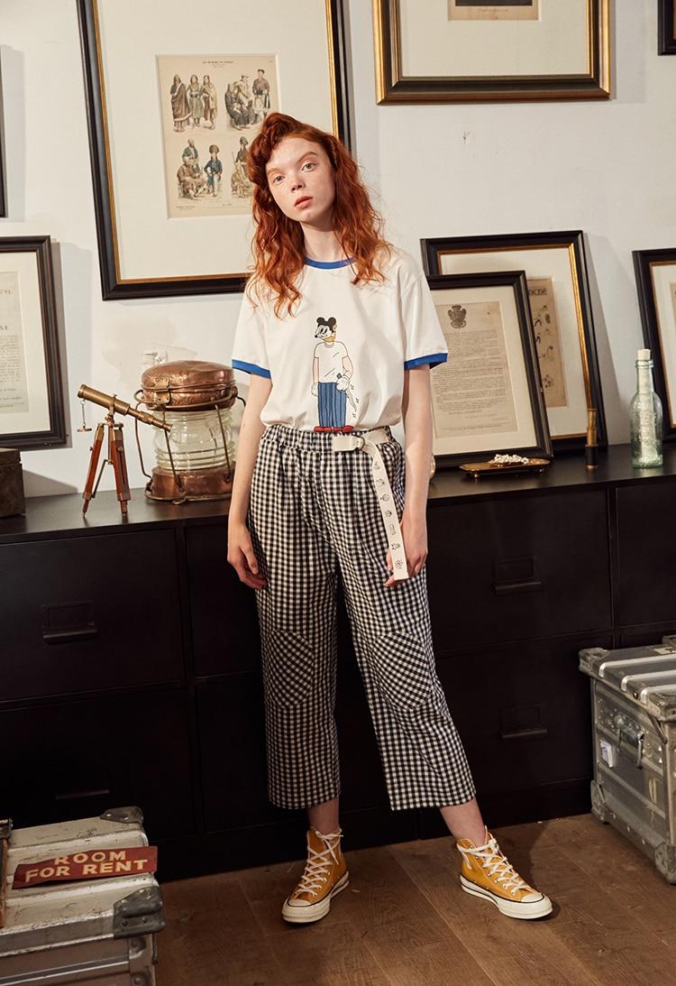 Fashion Design Plaid 2018 Elastic Waist Women Straight Pants Capris Cartoon Print Belt Calf Length Pants Summer Preppy Style 12