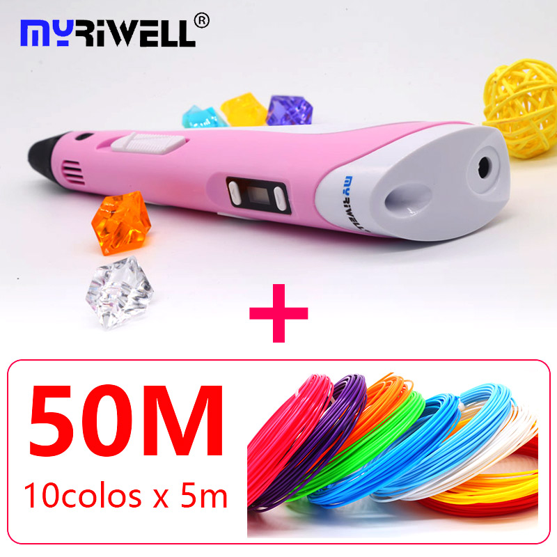 2018 Myriwell 3d pen 3d pens abs 1.75mm pla filament LED display 3d magic pen designed for kids graffiti pen 3d myriwell pen 2nd generation lcd display diy 3d printer pen with 100m abs pla filament magic 3d pens for kids drawing tools