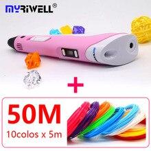 2018 Myriwell 3d pen 3d pens abs 1.75mm pla filament  LED display 3d magic pen designed for kids graffiti pen