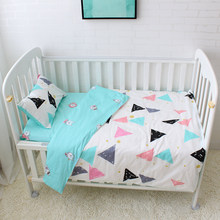 3pcs/set Baby Bedding Set Colorful Triangle Pattern Baby Linen Include Duvet Cover Pillowcase Bed Sheet 100% Cotton Baby Cot Set