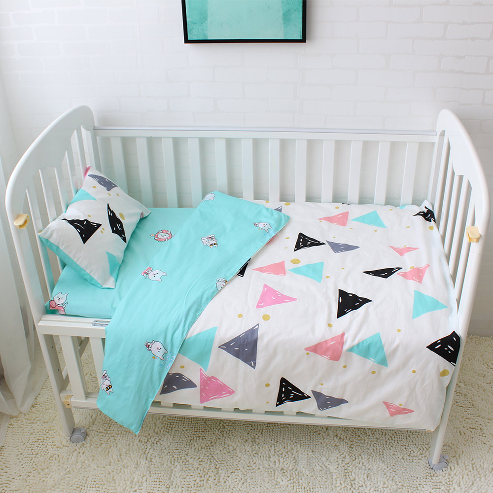 Baby bed sheet pattern - 3pcs Set Baby Bedding Set Colorful Triangle Pattern Baby Linen Include Duvet Cover Pillowcase Bed Sheet 100 Cotton Baby Cot Set