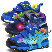 Dinoskulls Baby Boys Shoes LED 3D Dinosaur Kids Sneakers Light Up Sport Children's Trainers 2019 Autumn Toddler Tennis Shoes