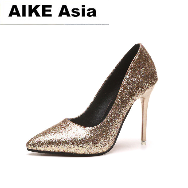 2018 HOT Spring Autumn Women Pumps Sexy Gold Silver High Heels Shoes Fashion Pointed Toe Wedding Shoes Party Women Shoes D-81 quanzixuan women pumps sexy high heels bling women shoes fashion wedding shoes pointed toe stiletto gold party ladies shoes