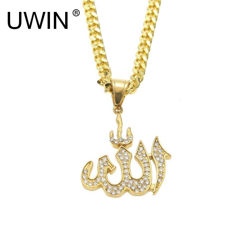 dd21aad03062 Cheap UWIN hombres mujeres Acero inoxidable Alá colgante helado Diamante de  imitación cristal oro colgante collar