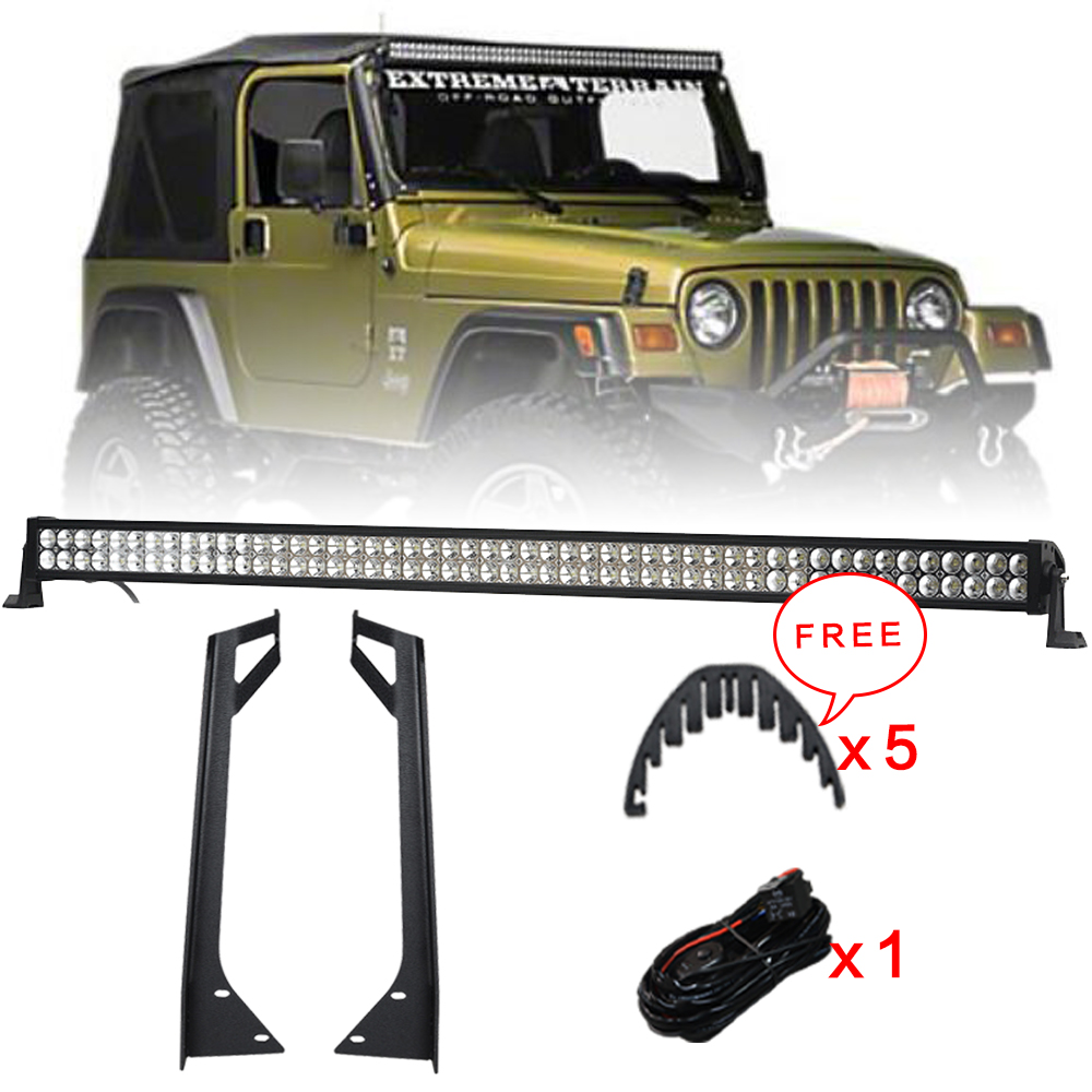 Racbox Offroad 288W 50'' Inch LED Light Bar Combo Beam + Mounting Brackets Kit + Wire Harness for Jeep Wrangler YJ 1987-1995