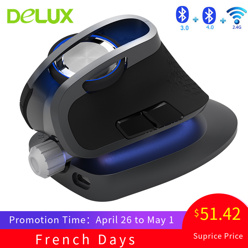 Delux M618X 2.4Ghz Wireless + Bluetooth 3.0/4.0 Multi-mode Mouse Ergonomic Vertical Mice Rechargeable Computer Laser 6D Mause