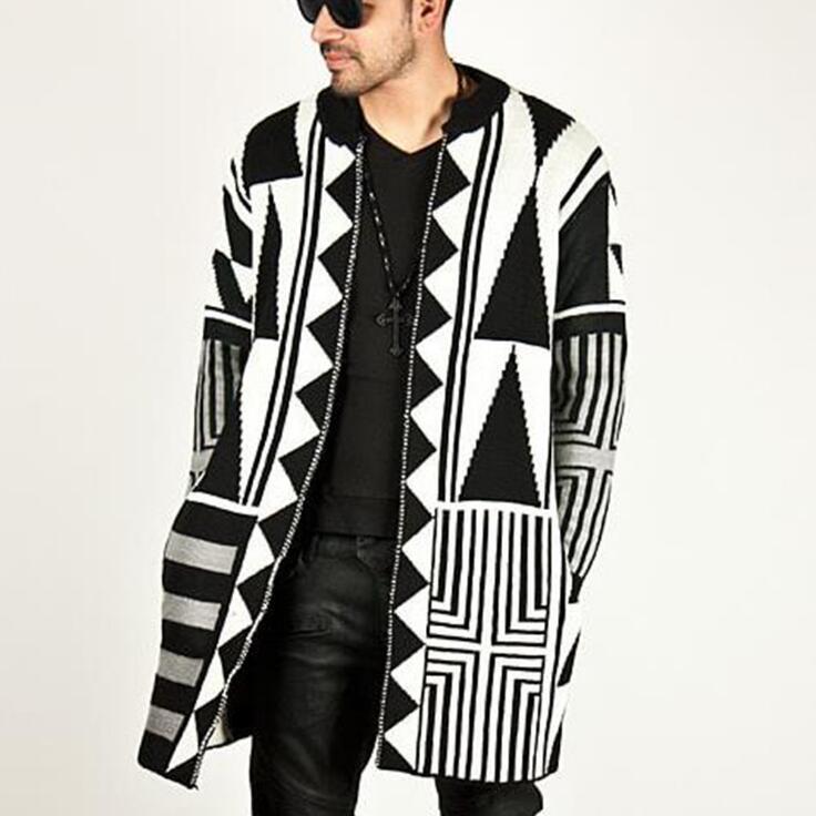 Automne hiver nouveau hip hop street tide hommes chandail noir et blanc gris couleur correspondant personnalisé chandails cardigan hommes manteau
