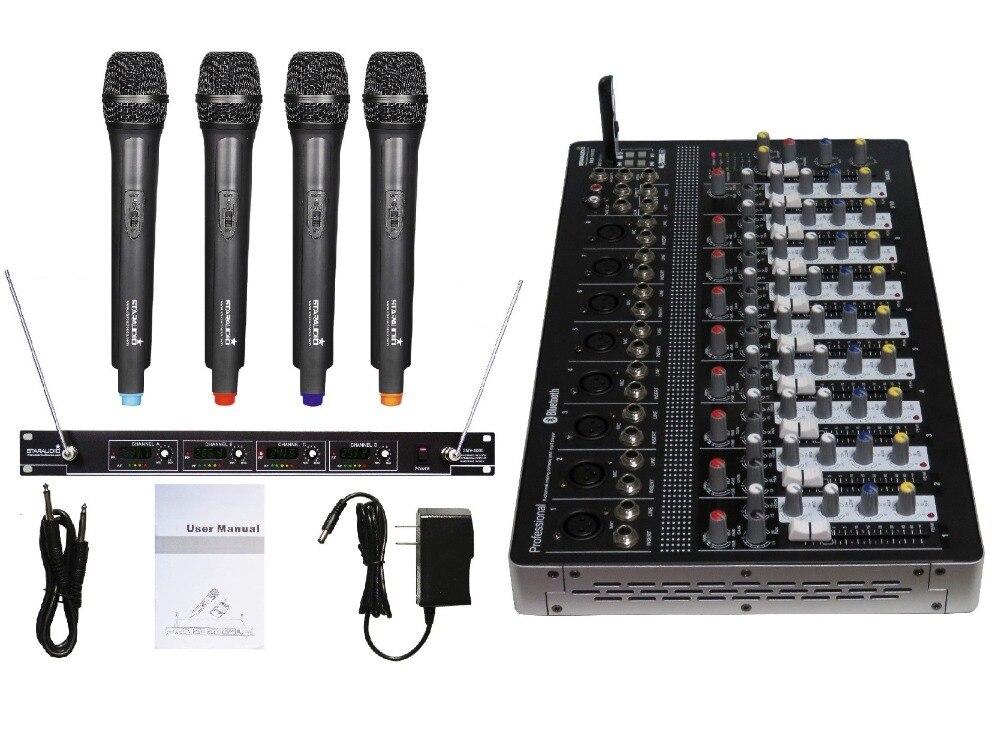 STARAUDIO SMX-1000B Pro PA 10 Channel DJ Stage Club  USB Bluetooth Mixer W/ 4CH VHF Handheld Microphone imlight linea stage 1000