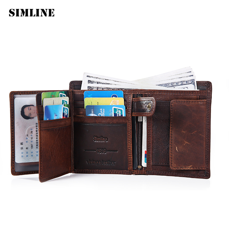 SIMLINE Genuine Leather Men Wallet Men's Vintage Real Cowhide Short Wallets Purse Card Holder With Zipper Pocket Coin Bag Male