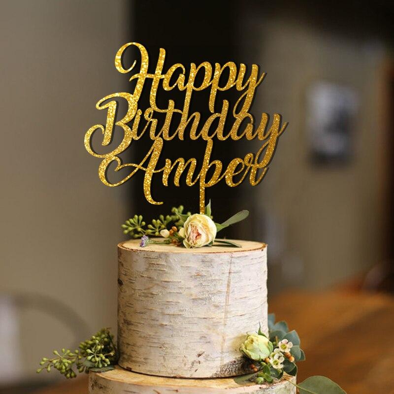 Персонализированные топперы для торта на день рождения. Золотой блеск на день рождения. Индивидуальное имя. Торт на день рождения. Персонал...