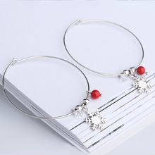 2019 New Fashion 925 sterling silver Snowflake red stone round ball big hoop earrings For Women/Girls trendy Jewelry gifts