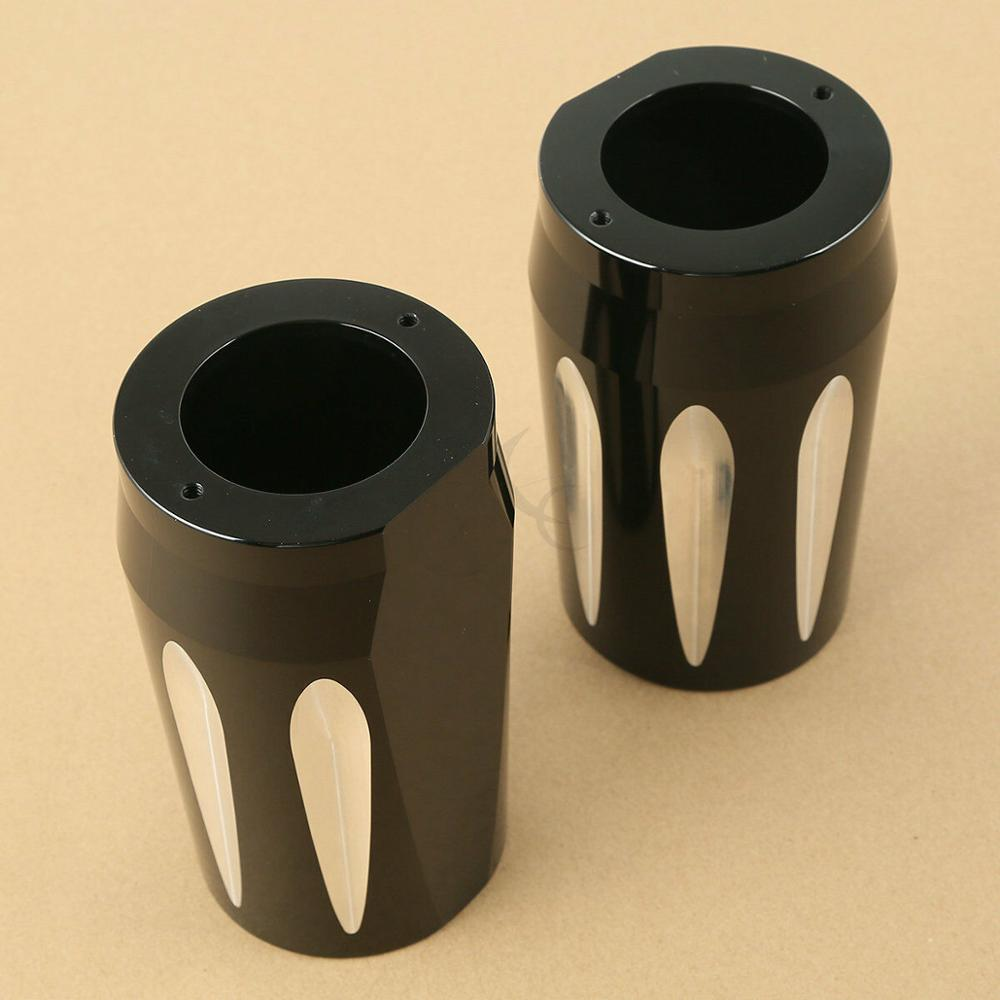 Motorcycle Pair Black CNC Fork Boot Slider Cover For Harley Touring Electra Street Glide Road King 14-17 FLHR FLHT FLHXMotorcycle Pair Black CNC Fork Boot Slider Cover For Harley Touring Electra Street Glide Road King 14-17 FLHR FLHT FLHX